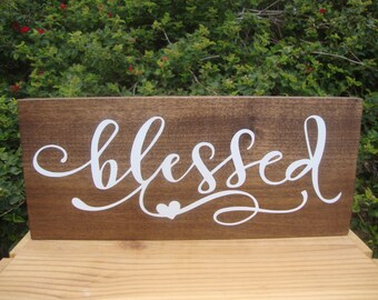 Blessed Sign, Wood Signs, Wall Collage, Rustic Wood Sign, Rustic Wall Decor, Kitchen Decor, Living Room Art, Home Decor