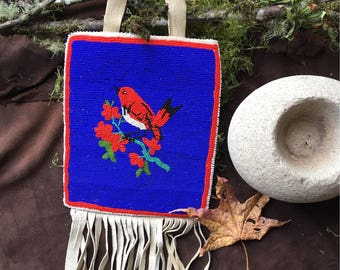 Vintage Native American Made Dance Bag for Ceremonial Beaded Leather