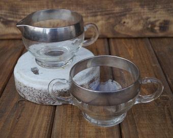 Silver Rimmed Glass Cream and Sugar Bowl Set