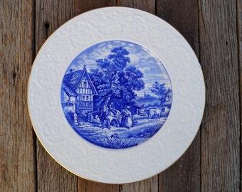 Coalport Dinner Plate - English - Pastoral Flow Blue - c1891