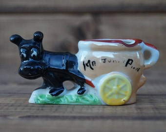 Dog Pulling Cart Toothpick Holder - Made in Occupied Japan