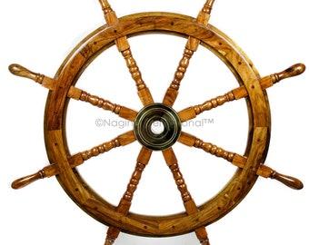 """SHIP WHEEL WOODEN 30/""""D ~ WOODEN SHIP WHEEL ~ PIRATE DECOR ~ NAUTICAL"""