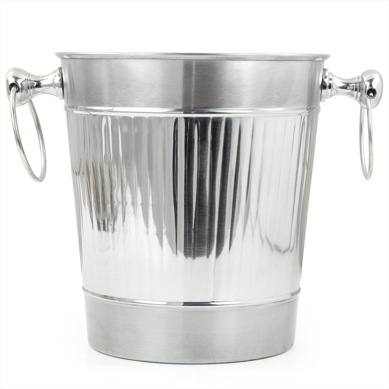 Wine Chiller On Stand Kitchenware Barware Accessories Vertical Striped Nickel Plated Majestic Wine /& Ice Bucket with Steel Bucket Stand
