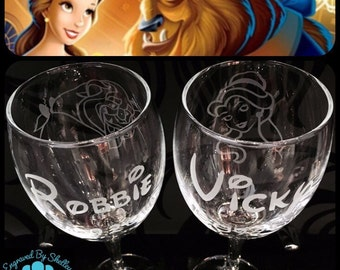 Hand Engraved Disney Wedding Glasses. Beauty And The Beast. Personalise With Names & Date. Custom Made