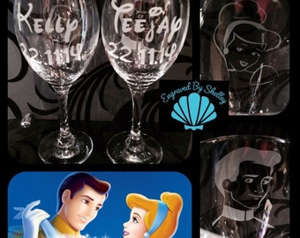 Hand Engraved Disney Wedding Glasses! Cinderella & Prince Charming. Personalise With Names And Date!