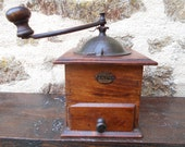 Vintage Coffee Grinder Japy Natural Wood French Coffee Mill Grinder