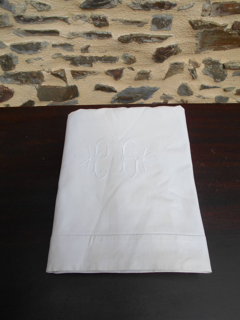 Vintage French Initialed P C  Metis sheet with Ladderwork.