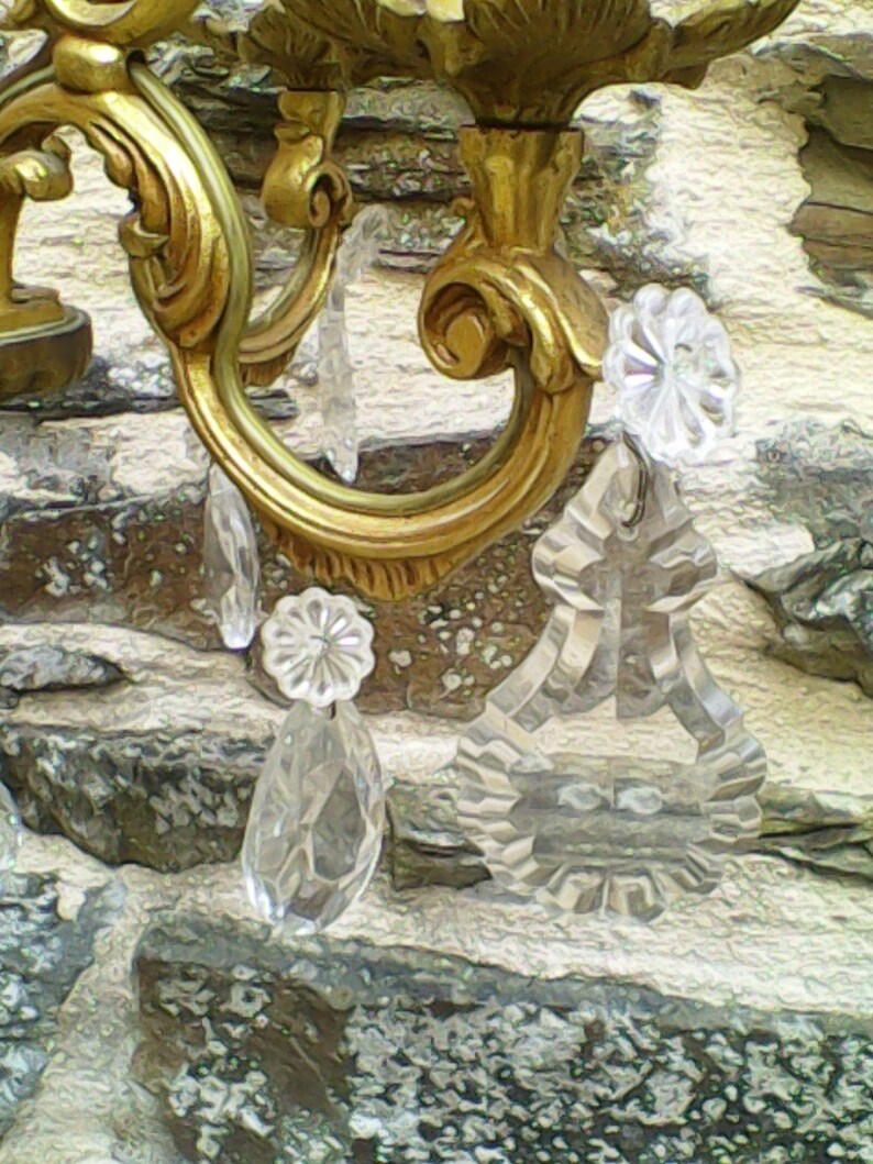Vintage French Bronze  /& Crystal 4 Arm Cage Chandelier
