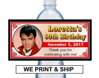 233283676e 20 ~ ELVIS PRESLEY birthday party favors water bottle labels ~ glossy ~  waterproof ink