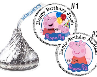 216 PEPPA PIG Birthday Party Hershey Kiss Kisses Stickers Labels Free Shipping