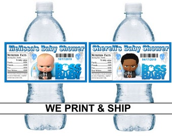 7ca9c70368f 20 BOSS BABY Baby Shower Favors water bottle labels ~ Glossy ~ Waterproof  Ink