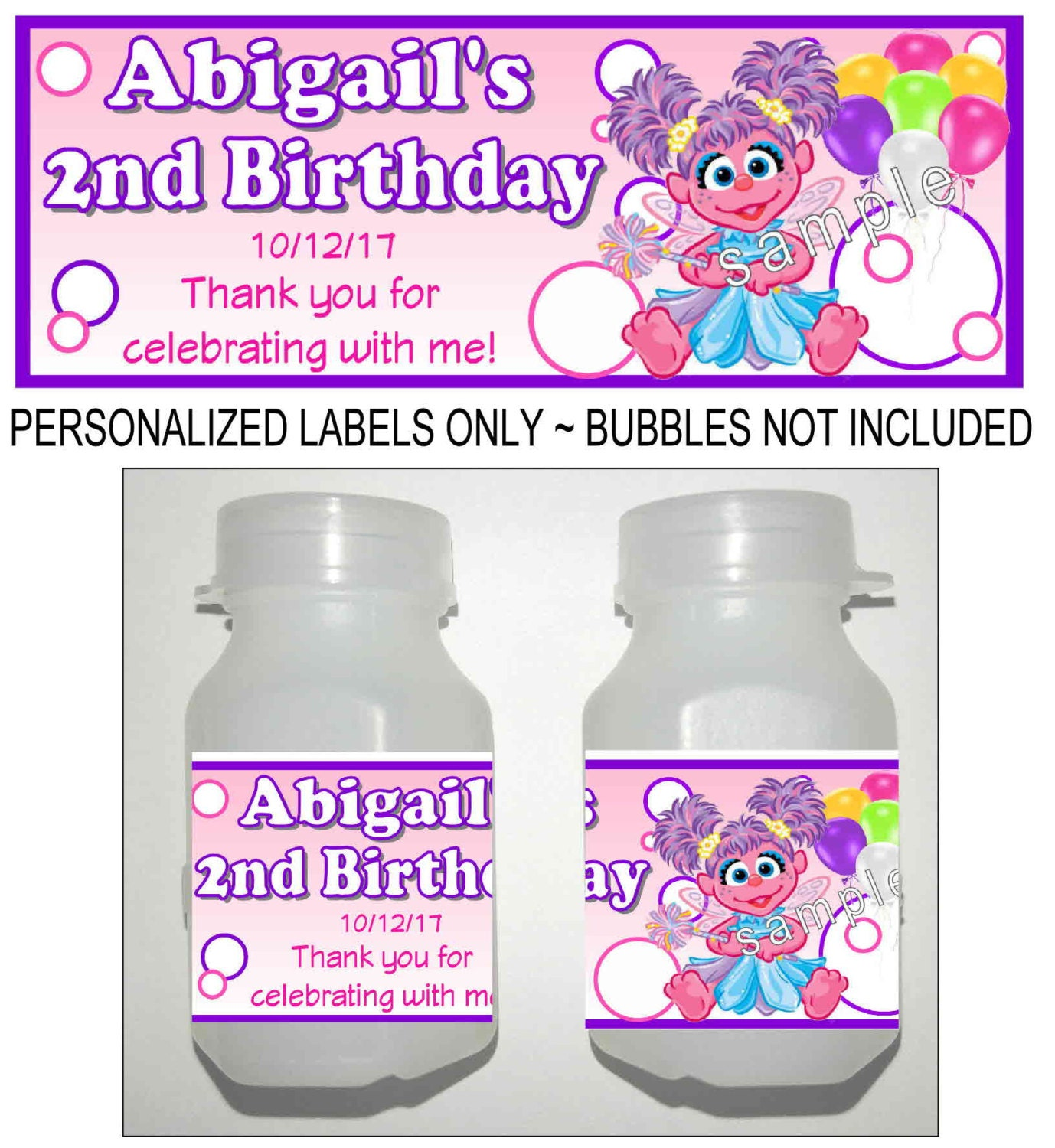 30 Sesame Street ABBY CADABBY birthday party bubble labels