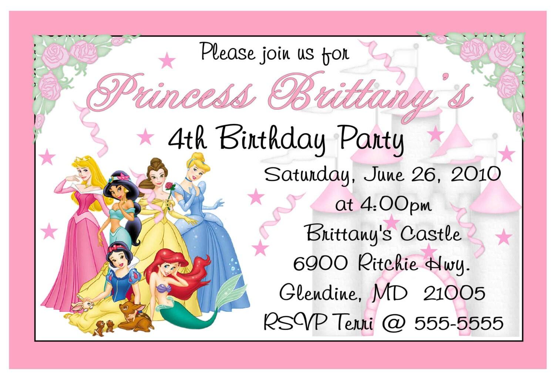 Disney Princess Birthday party invitations DIY INSTANT   Etsy