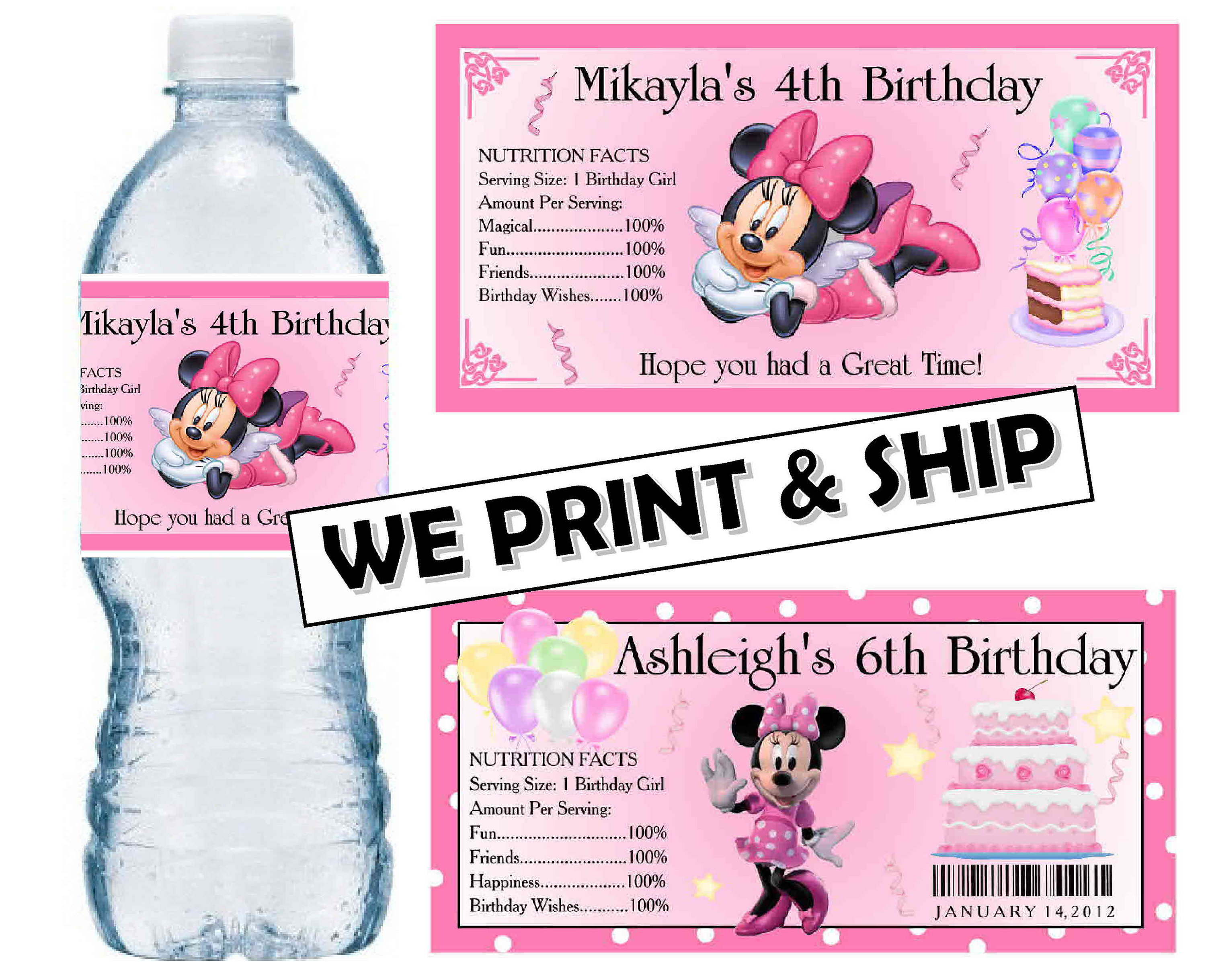 20 DISNEY BABY GENDER REVEAL PARTY FAVORS WATER BOTTLE LABELS GLOSSY
