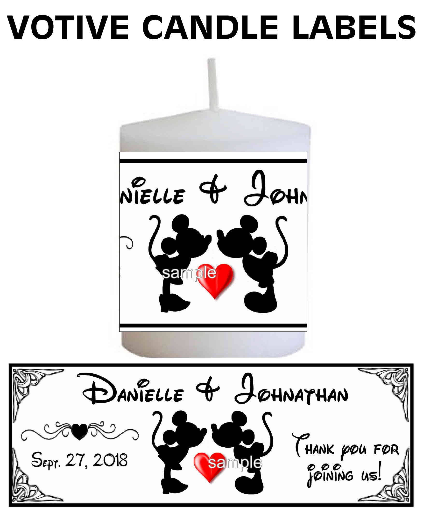 28 Disney Mickey And Minnie Wedding Favors Votive Candle