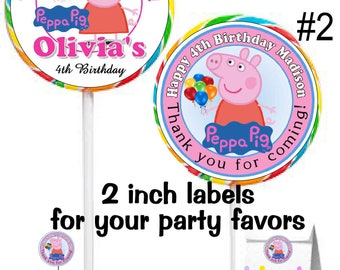 40 PEPPA PIG Birthday Party Stickers Lollipop Labels ~ Free Shipping  ~ 2 inches~great for lollipops, suckers, seals, goody bags