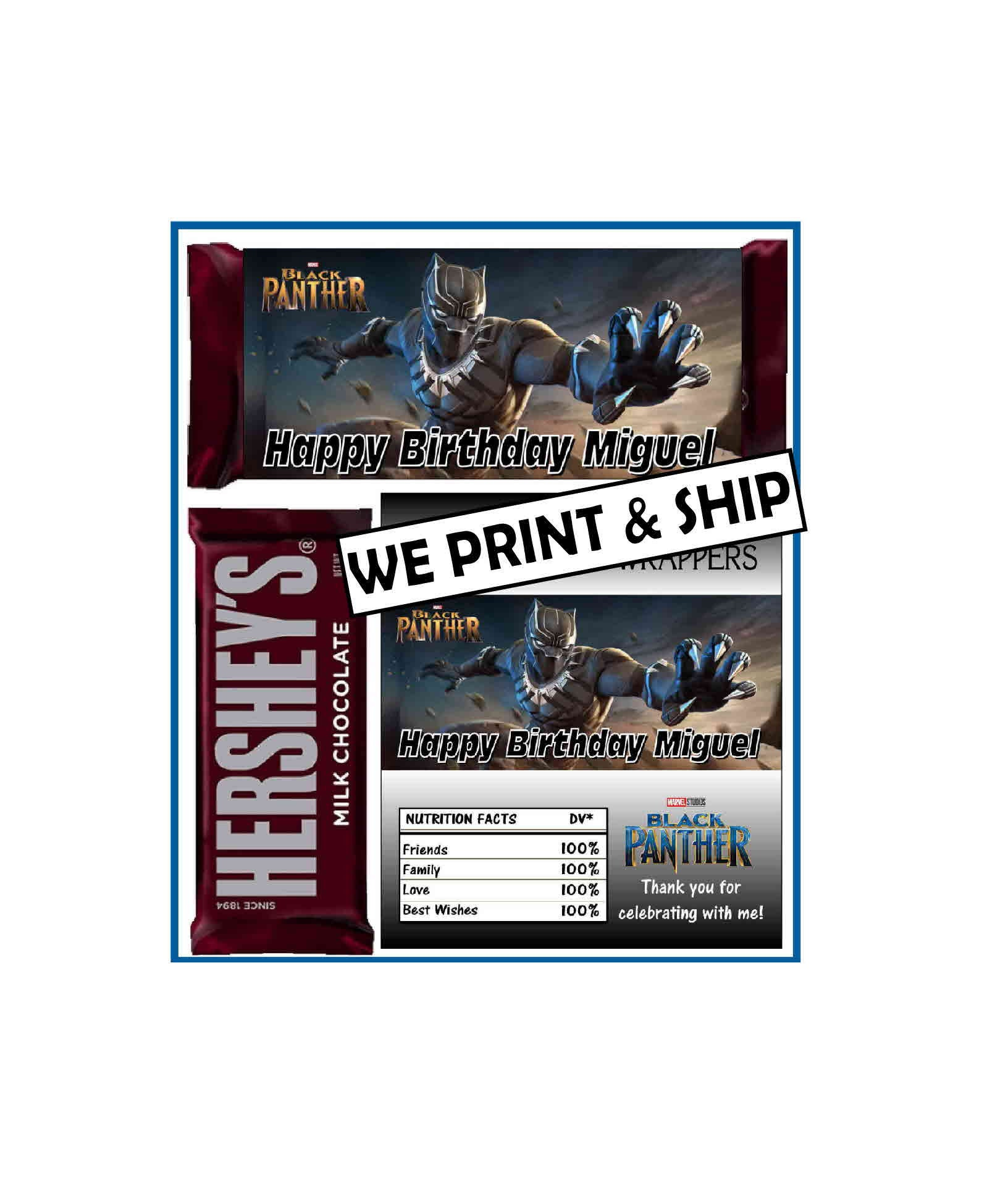 12 Black Panther Birthday Party Favors Chocolate Candy Bar Custom Candy Wrappers