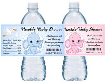 20 Blue Elephant or Pink Elephant Baby Shower favors water bottle labels ~ glossy ~ waterproof ink