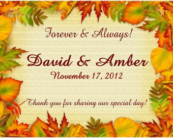 60 Personalized Autumn FALL WEDDING MAGNETS ~ Free shipping ~ red