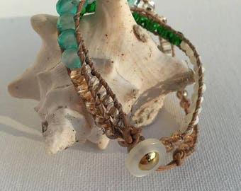 Mini Leather Wrap Bracelet/ Twice Wrap Bracelet/ Leather and Beaded Choker