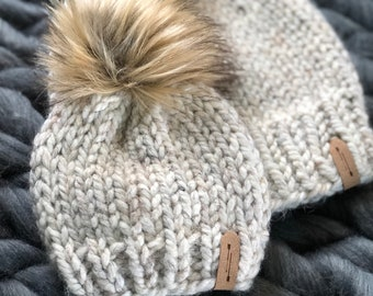 c00c96dd8d64cb Mommy and Me Fur Pom Pom Hats // Newborn - Adult Sizing // Matching Slouchy  Beanies