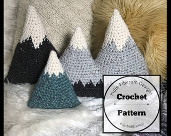 DIY Crochet Pattern // Amigurumi Mountain Cushions  // Three Sizes  // Super Bulky Yarn // Adirondack Mountain Pillows