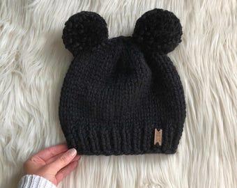 08ad5593dac Double Pom Pom Knit Hat    Newborn - Adult Sizes    The Bear Cub Beanie