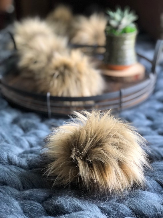 Faux Fur Pom Pom // Handmade  // Vegan // Assorted Colors + Sizes  // High Pile Long Fur Hat Topper // Craft Supply