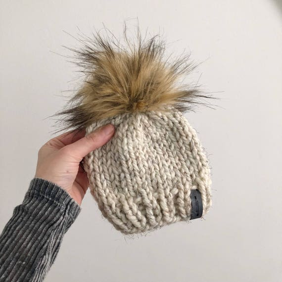 Adult  The Iroquois Beanie Hand Knit Chunky Wool Slouchy Hat with Fur pom pom   Sizes Newborn