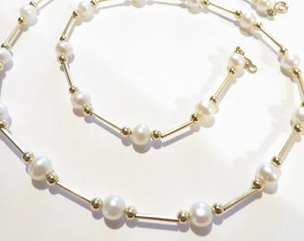 Wonderful 14k Genuine Pearl 18'' Necklace