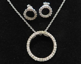 Vintage Sterling Silver Eternity Circle Cz Jewelry Set