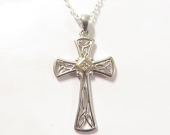 Vintage Sterling Silver Diamond Celtic Cross Religious Pendant
