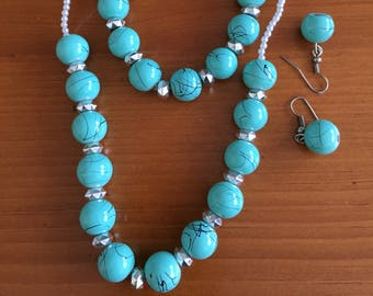 Blue and Silver Necklace 15 inch with magnetic claps , Bracelet stretch and -Earrings