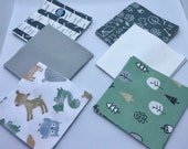 48 - 5 Woodland Forest Friends Magic Moon Flannel Charm Pack, Woodland Forest Animals Quilt Squares, Woodland Charm Pack, Deer, Owl, Bear