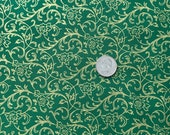 Christmas Holiday Cotton Fabric - Song of Christmas Scrolls in Gold Metallic on Green OR Precut Christmas Cotton Fabric