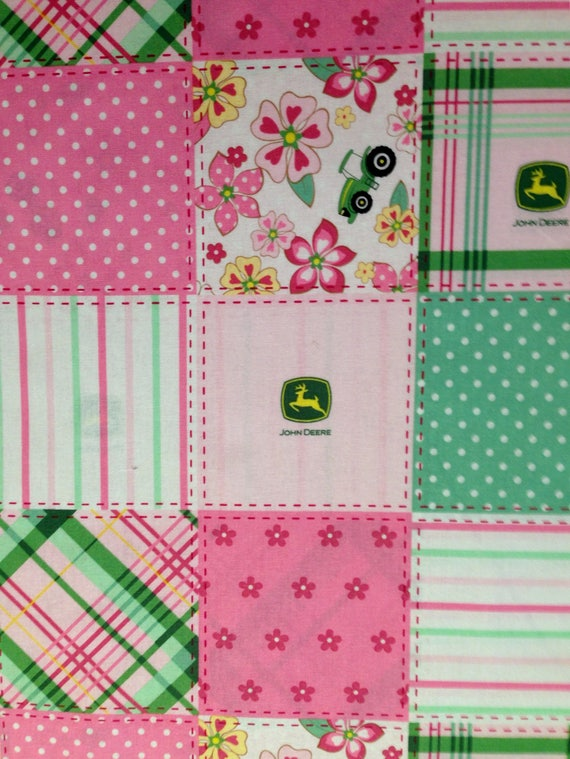 Xl Cotton Fabric Fq John Deere Pink Floral Madras Patch Fabric Fat Quarter Country Tractor Plaid For Crafts Quilting Decoupage