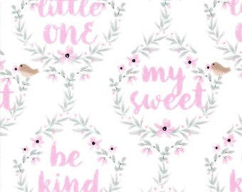 """Cotton Nursery Fabric - Hazel Be Brave, Pink and Gray Woodlands, Be Brave Little One, Be Kind, My Sweet, Woodland Nursery, 5.5"""" Squares, YD"""
