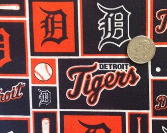 "XL Cotton Fabric FQ- 18 x 29"" Cotton Fabric Fat Quarter, Detroit Michigan Detroit TIgers Baseball Fabric, Sports Fabric for Crafts, Quilting"