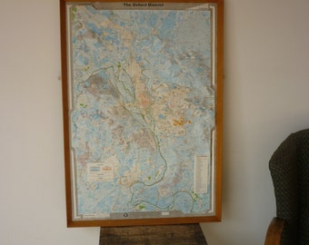 Vintage Industrial Mid Century Framed Oxford Plastic Relief Maps Series 6 Map 1 The Oxford District 1964 Oxford University Land Topography