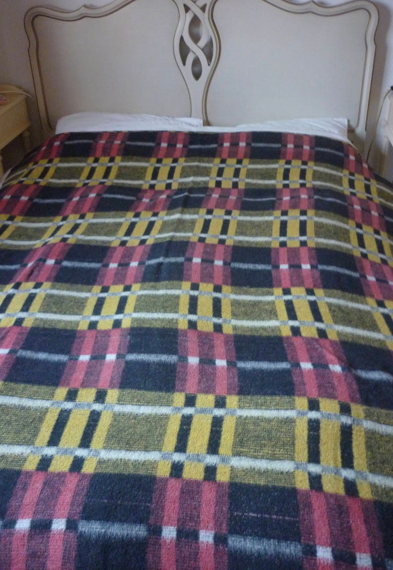 newest 6686e 5322a Vintage Retro Checked Blanket, Rug, Shabby Chic Throw, Picnic Blanket,  1970's Blanket, Small Double Blanket, Lightweight Vintage Blanket