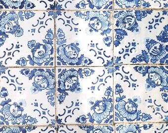Vintage Tapete Fliesen Portugiesische Azulejos Druck Etsy - Tapete portugiesische fliesen