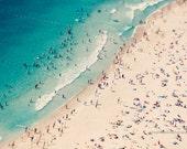 Beach photography, large aerial beach photo, dreamy aqua blue sea, ocean, people beach umbrellas art, wall decor, home  decor, wall art
