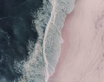 Aerial beach photography, beach print, ocean print, surf print, pink sand, large beach wall art, wall art decor, home decor
