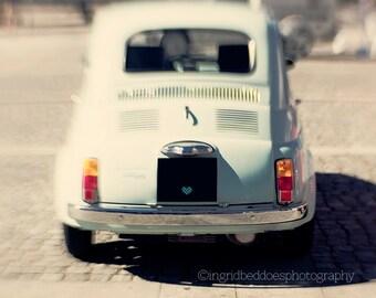 Car photography, car print, vintage car print, baby blue, Italian car, retro photography, whimsical, car nursery wall  art, home decor