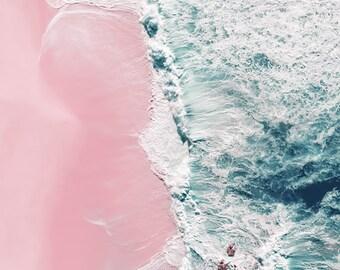 Aerial beach photography, beach print, ocean print, large beach wall art, sea fine art print, seascape, pink, blue wall decor, home decor