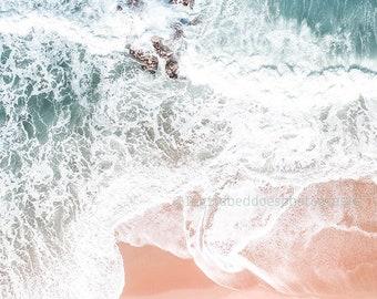 Aerial beach photography, beach print, ocean print, coral, coral pink, large beach wall art, wall art decor, home decor