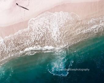Aerial beach photography, beach print, aerial ocean print, large beach wall art, blush pink, blue wall decor, modern home decor