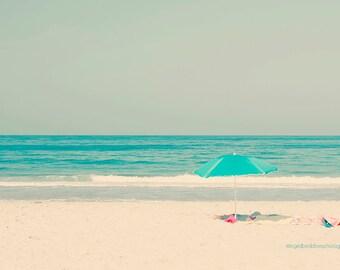Beach photography, beach decor, ocean print, beach fine art print, dreamy photography, summer art, aqua, teal, blue sun umbrella, home decor