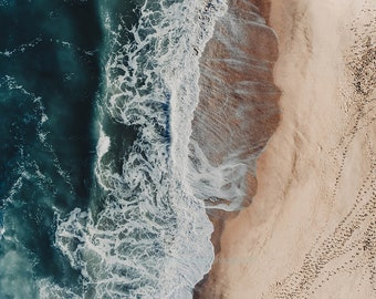 Aerial beach photography, beach print, ocean print, gold, gold sand, large beach wall art, wall art decor, home decor