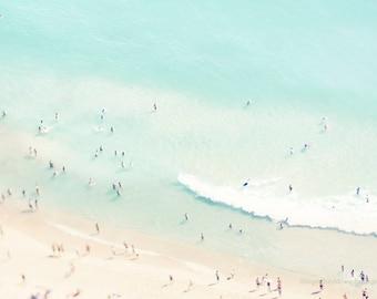 Beach photography, aerial beach print, large beach art, dreamy pastel blue sea, ocean, people, coastal wall decor, home  decor, wall art